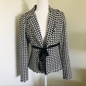 Shoshanna silk houndstooth fringed jacket